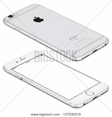 Varna Bulgaria - October 25 2015: Silver Apple iPhone 6s mockup lies on the surface with white screen and back side with Apple Inc logo. Isolated on white.