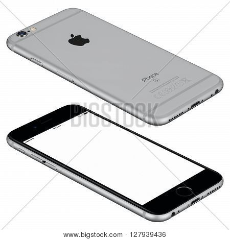 Varna Bulgaria - October 25 2015: Space Gray Apple iPhone 6s mockup lies on the surface with white screen and back side with Apple Inc logo. Isolated on white.