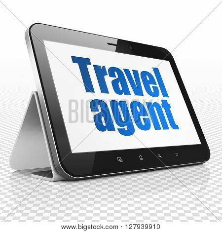 Travel concept: Tablet Computer with blue text Travel Agent on display, 3D rendering