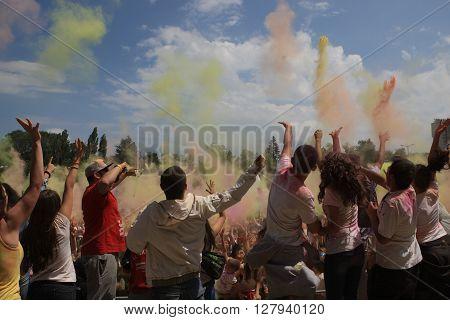 SOFIA, BULGARIA - June 20, 2015: Happy people during Festival of colours Holi.