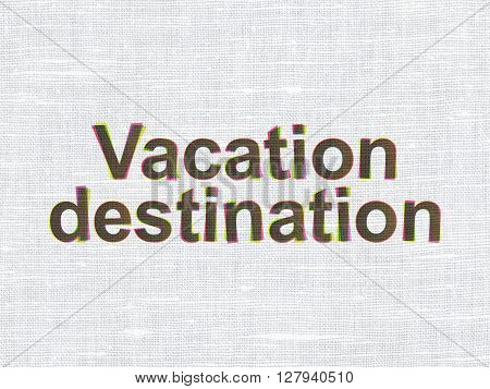 Vacation concept: CMYK Vacation Destination on linen fabric texture background