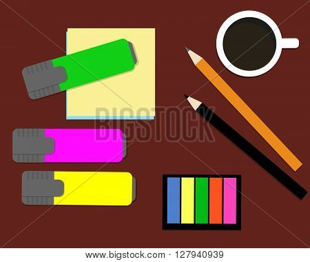 Stationery: markers, stickers, pencils. Vector illustration. It can be used for the websites, registration of magazines, booklets, leaflets.