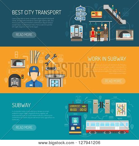 Horizontal underground banners presenting subway advertising it like best city transport and work in subway flat vector illustration