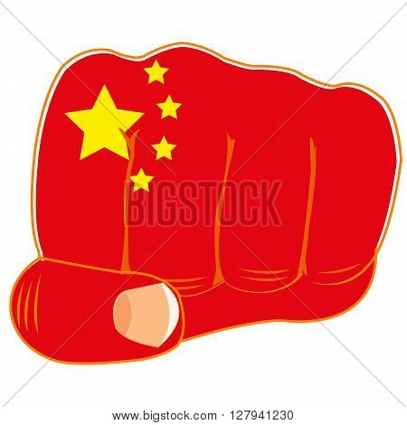 Vector illustration of the flag of the china on fist of the person