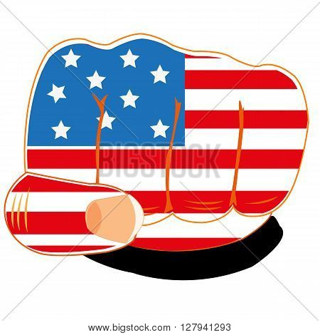 Vector illustration of the flag of the america on fist of the person