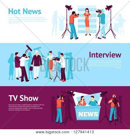 Journalist news pressman banner set with interview tv show operator vector illustration
