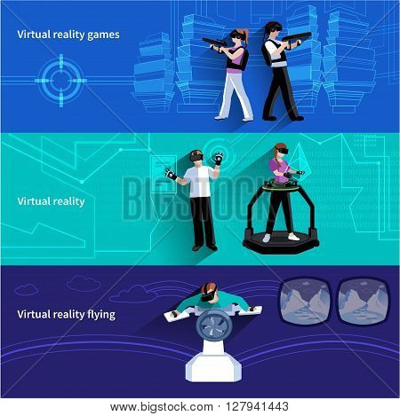 Virtual reality artificial world 3 flat horizontal banners set with military games and flying abstract isolated vector illustration