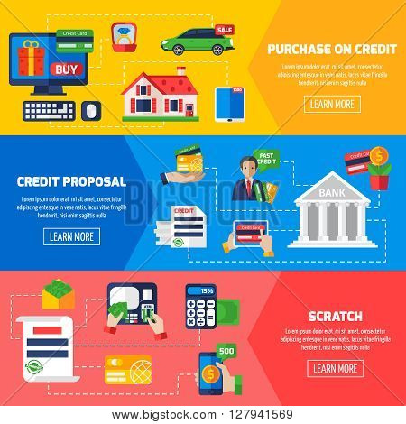 Loan debt horizontal banners with advertising of credit proposals and information about purchase on credit flat vector illustration