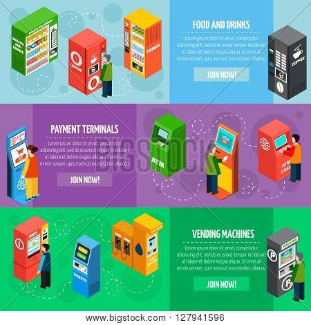 Vending food and drinks dispensers isometric banners set with payment and tickets selling machines isolated vector illustration