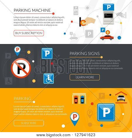 Isolated flat horizontal banners set with parking signs equipment rules violations grouped in infographic style vector illustration