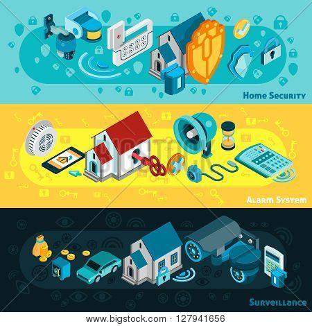 Security system horizontal banners set with alarm and surveillance symbols isometric isolated vector illustration