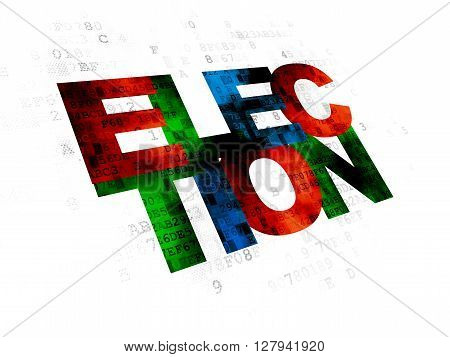 Politics concept: Pixelated multicolor text Election on Digital background