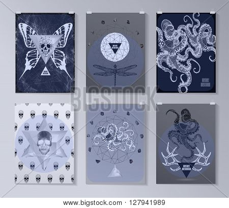 Set of poster, flyer, brochure design templates in gothic style. Symbol, sign for tattoo. Abstract modern backgrounds.