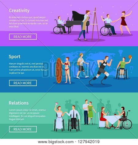 Disabled persons full life online information 3 flat horizontal banners set webpage design abstract isolated vector illustration
