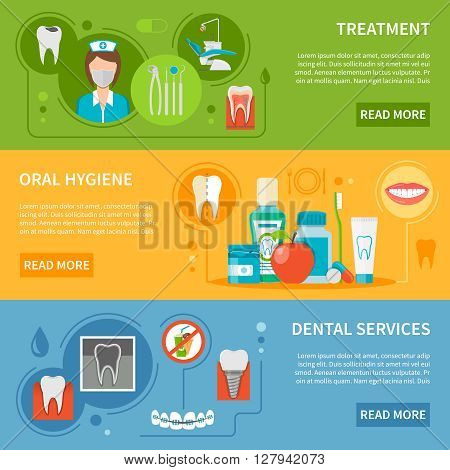 Dental Care Concept. Dental Care Horizontal Banners. Dental Care Vector Illustration. Dental Care Set. Dental Care Design Symbols.