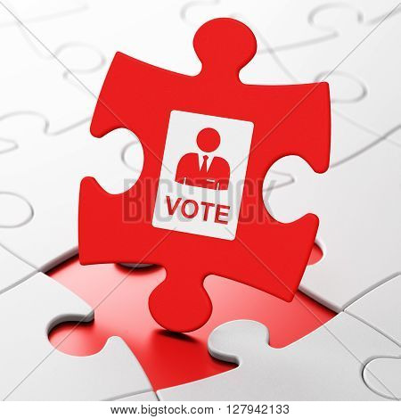 Political concept: Ballot on Red puzzle pieces background, 3D rendering