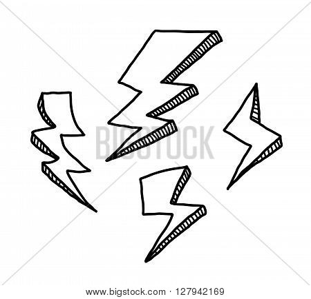 Lightning Doodle Set, a hand drawn vector doodle illustration set of lightnings.