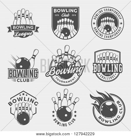 vector set of bowling emblems and design elements. logotype templates and badges