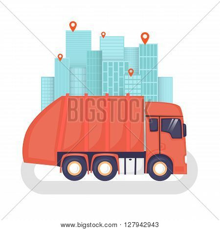 Garbage on the background of the city, garbage disposal, clean city. Flat design vector illustration.
