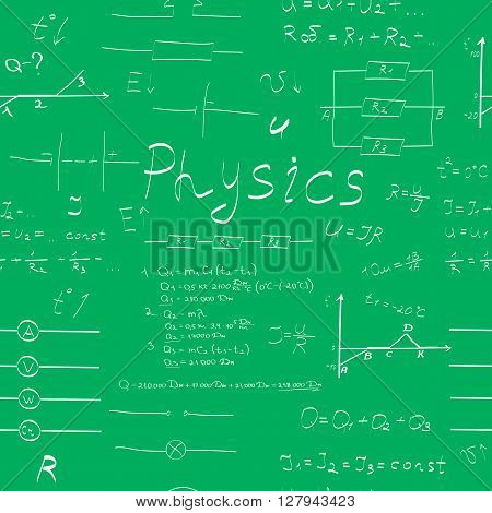 physics education formulas seamless pattern vector illustration