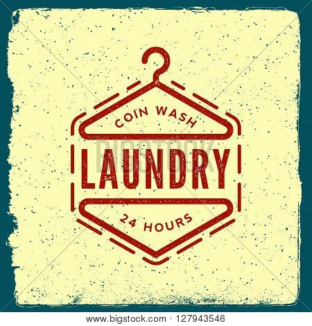 Laundry Emblem. Logotype Template With Ink Stamp Texture