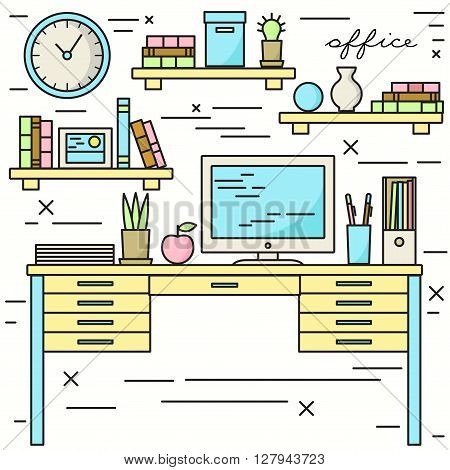 Office workplace vector illustration in lineart style.