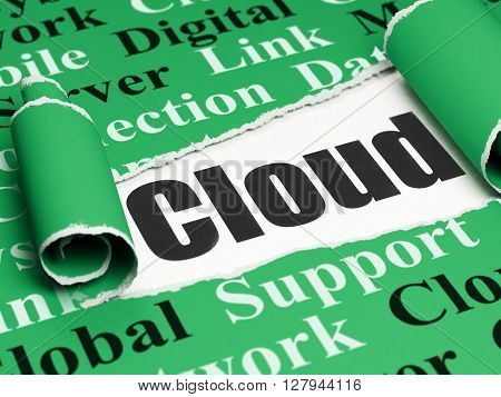 Cloud computing concept: black text Cloud under the curled piece of Green torn paper with  Tag Cloud, 3D rendering