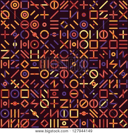 Vector Seamless Multicolor Geometric Line Random Shapes Grid Pattern Abstract Background