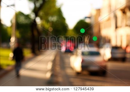 Blur background of the town street city traffic on the road