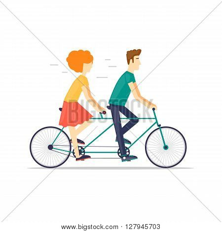 Couple riding tandem bicycle isolated. Walking, sports, traveling. Flat design vector illustration.