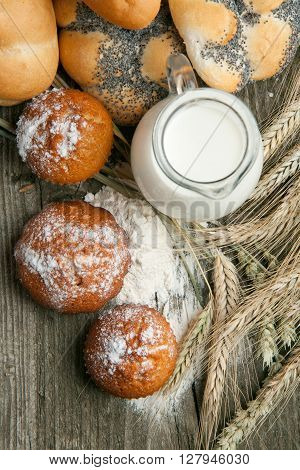 Lot Of Bread And Cakes With Milk