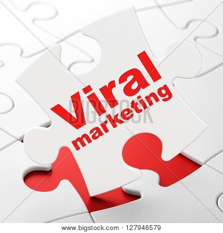 Marketing concept: Viral Marketing on White puzzle pieces background, 3D rendering