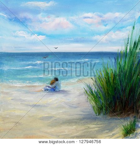 Original oil painting showing couple in love sitting on the beach and looking at ocean or sea on canvas. Modern Impressionism modernismmarinism
