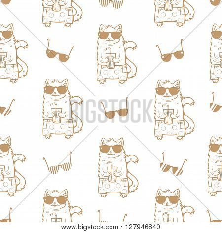 Summer seamless pattern with cats in sunglasses. Cats drinking soda. Children's illustration. Contour image. Vector image.
