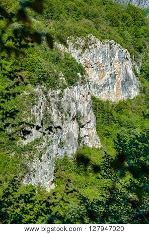 Limestone Cliffs On Mountain