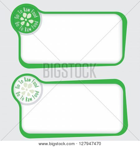 Set of two vector text frames and raw food icon