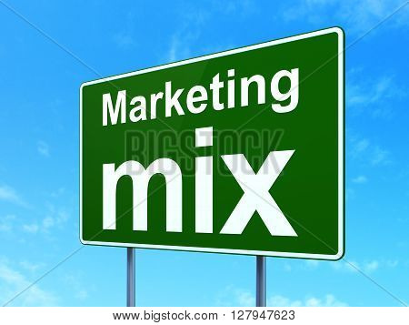 Marketing concept: Marketing Mix on green road highway sign, clear blue sky background, 3D rendering