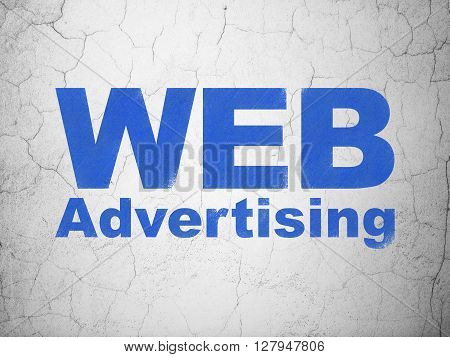 Advertising concept: Blue WEB Advertising on textured concrete wall background