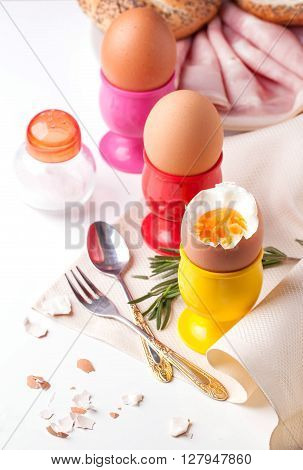 Boiled Eggs, Salt, Bread And Ham