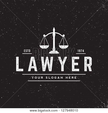 law office badge on grunge black background. vector illustration