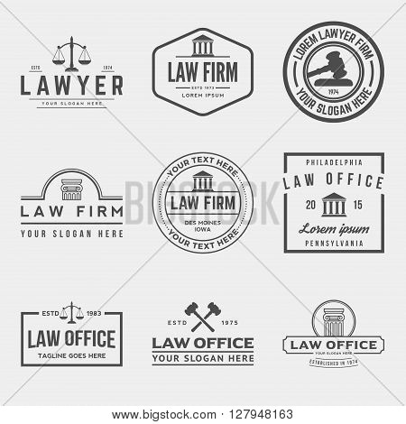 set of law office badges, vector illustration