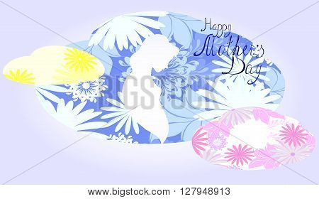 Silhouette of expectant mother in a cloud of flowers. EPS10 vector illustration