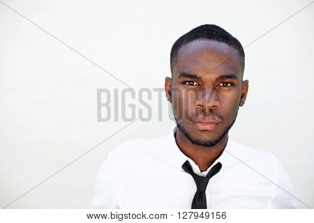 Serious Young African Man In Shirt And Tie