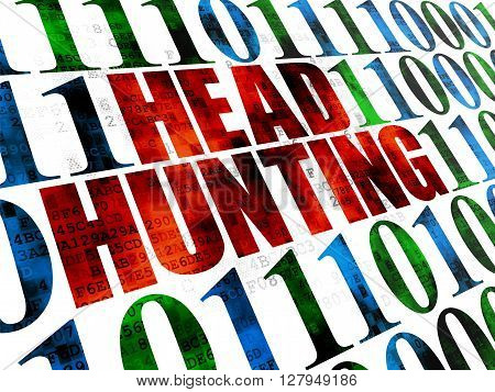 Business concept: Pixelated red text Head Hunting on Digital wall background with Binary Code