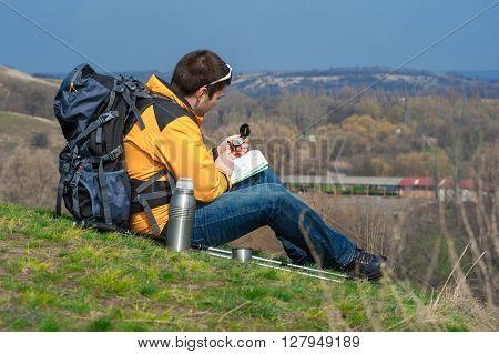 Walking Hiker Looking At Map02