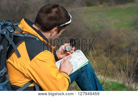 Walking Hiker Looking At Map03
