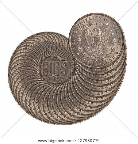 snail from a silver coins of a Morgan dollar