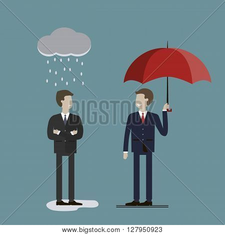 Two businessmen in rain. One is protected by a parasol, the other wet. The concept of success and loser. Vector illustration. Flat style characters