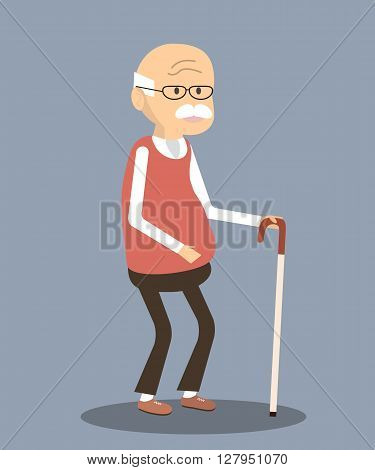 An elderly man with glasses and walking cane. Vector illustration old man character
