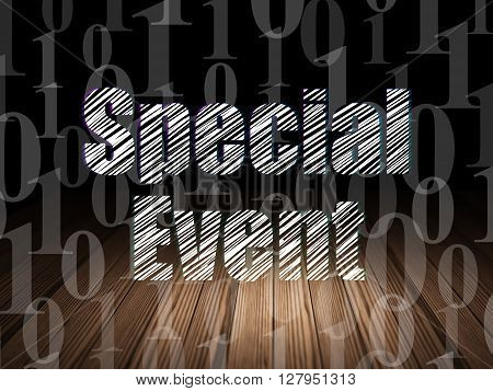 Finance concept: Glowing text Special Event in grunge dark room with Wooden Floor, black background with  Binary Code